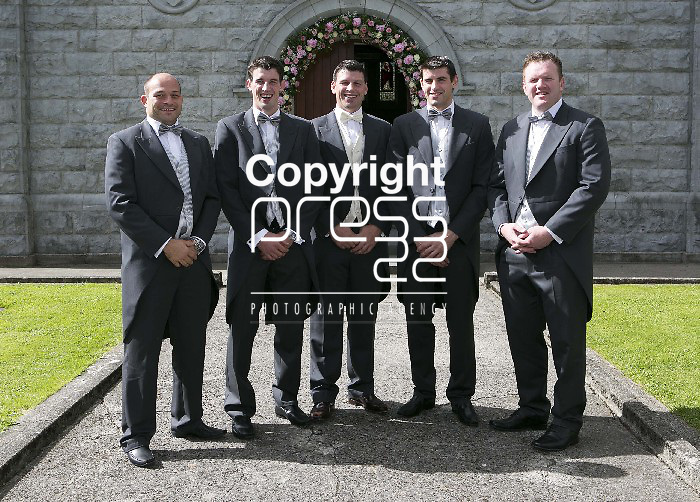 Denis Leamy (centre) pictured with Rory Best,Kevin Leamy, Edmund Leamy & Stephen Keogh before his wedding to Grainne  Brosnan in Rockwell College Church Co.Tipperary Picture Credit: Brian Gavin Press 22