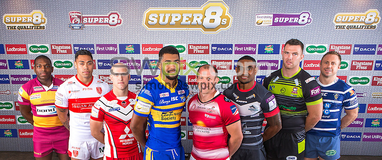 Picture by Alex Whitehead/SWpix.com - 27/07/2016 - Rugby League - First Utility Super League Super 8s Media Launch - Old Trafford, Manchester, England - The Qualifiers, (l-r) Huddersfield's Jermaine McGillvary, Hull KR's Ken Sio, Salford's Michael Dobson, Leeds' Kallum Watkins, Leigh's Micky Higham, London's Wes Naiqama, Batley's Keegan Hirst and Halifax's Tim Spears.