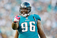 October 03, 2010:   Jacksonville Jaguars defensive tackle Terrance Knighton (96) during AFC South Conference action between the Jacksonville Jaguars and the Indianapolis Colts at EverBank Field in Jacksonville, Florida.   Jacksonville defeated Indianapolis 31-28,........