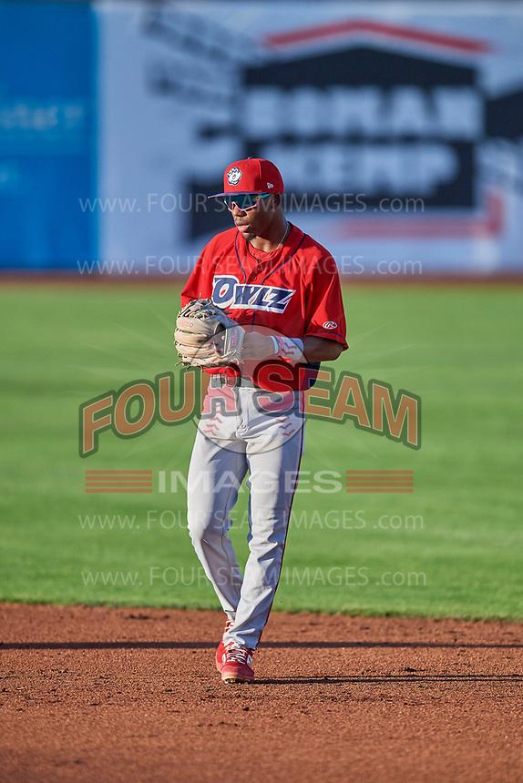 Drevian Williams-Nelson (37) second baseman of the Orem Owlz on defense against the Ogden Raptors at Lindquist Field on September 3, 2019 in Ogden, Utah. The Raptors defeated the Owlz 12-0. (Stephen Smith/Four Seam Images)