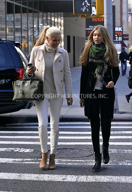 WWW.ACEPIXS.COM....April 5 2013, New York City....TV personality Yolanda Foster walks in Soho with her daughter Gigi Hadid on April 5 2013 in New York City......By Line: Curtis Means/ACE Pictures......ACE Pictures, Inc...tel: 646 769 0430..Email: info@acepixs.com..www.acepixs.com