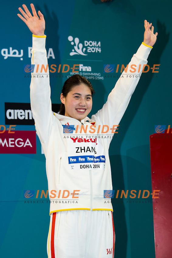 ZHANG Yufei CHN Bronze Medal<br /> Women's 400m Freestyle Final<br /> Doha Qatar 05-12-2014 Hamad Aquatic Centre, 12th FINA World Swimming Championships (25m). Nuoto Campionati mondiali di nuoto in vasca corta.<br /> Photo Giorgio Scala/Deepbluemedia/Insidefoto