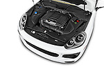 Car Stock 2016 Porsche Cayenne Diesel 5 Door SUV Engine high angle detail view