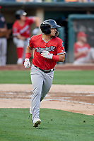 Franklin Barreto (4) of the Nashville Sounds runs to first base against the Salt Lake Bees at Smith's Ballpark on July 27, 2018 in Salt Lake City, Utah. The Bees defeated the Sounds 8-6. (Stephen Smith/Four Seam Images)