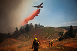 A plane drops fire retardant on a vineyard while battling the Sand Fire near Plymouth, California, July 26, 2014. <br /> The Sand Fire destroyed 20 homes and burned more than 4,200 acres near the town of Plymouth.