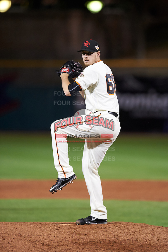 Scottsdale Scorpions pitcher Chris Stratton (68), of the San Francisco Giants organization, during a game against the Salt River Rafters on October 20, 2016 at Scottsdale Stadium in Scottsdale, Arizona.  Scottsdale defeated Salt River 4-1.  (Mike Janes/Four Seam Images)