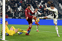 Cristiano Ronaldo of Juventus tries to score as Bryan Cristante and Patrick Robin Olsen of AS Roma defend during the Serie A 2018/2019 football match between Juventus and AS Roma at Allianz Stadium, Roma, December 22, 2018 <br /> Foto OneNine / Insidefoto