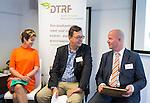 ZANDVOORT - GOLF -Maria Stranderg (Zweden) , Marc Verneirt (Belgie) en Joris Slooten (NGF) DTRF (Dutch Turfgrass Research Foundation)  congres. COPYRIGHT KOEN SUYK