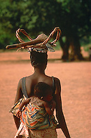 Woman farmer going to the forest to get firewood