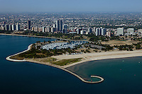 aerial photograph Montrose beach and harbor, Chicago, Illinois