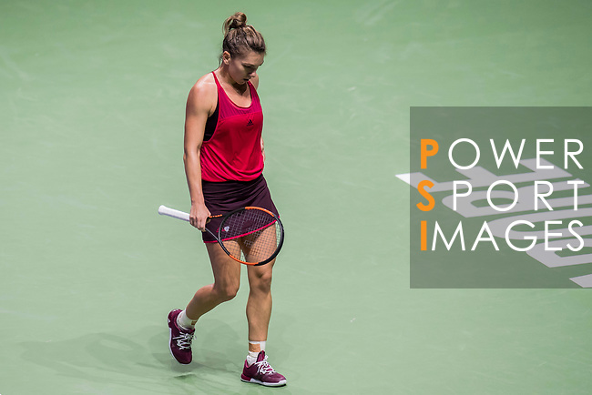 Simona Halep of Romania reacts in her singles match against Elina Svitolina of Ukraine during the BNP Paribas WTA Finals Singapore presented by SC Global at Singapore Sports Hub on 27 October 2017 in Singapore. Photo by Victor Fraile / Power Sport Images