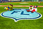 28 February 2017: Team Mascots Orbit (Houston Astros) and Screech (Washington Nationals) pose during pre-game ceremonies prior to the Spring Training inaugural game against the Houston Astros at the Ballpark of the Palm Beaches in West Palm Beach, Florida. The Nationals defeated the Astros 4-3 in Grapefruit League play. Mandatory Credit: Ed Wolfstein Photo *** RAW (NEF) Image File Available ***