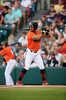 Richmond Flying Squirrels right fielder Luigi Rodriguez (6) at bat during a game against the Trenton Thunder on May 11, 2018 at The Diamond in Richmond, Virginia.  Richmond defeated Trenton 6-1.  (Mike Janes/Four Seam Images)