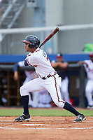 Derian Cruz (7) of the Danville Braves follows through on his swing against the Princeton Rays at American Legion Post 325 Field on June 25, 2017 in Danville, Virginia.  The Braves walked-off the Rays 7-6 in 11 innings.  (Brian Westerholt/Four Seam Images)