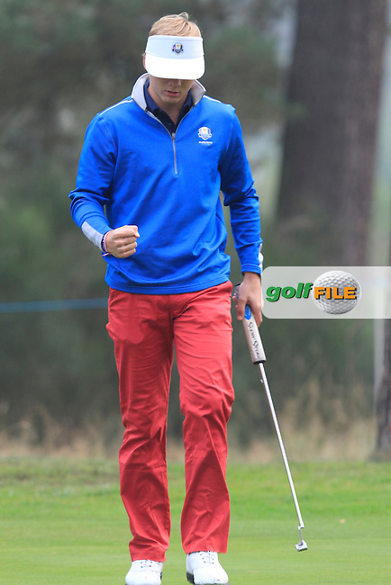 Sam Burns (USA) on the 2nd during Monday's Morning Foursomes Match 1 of the 2014 JUNIOR RYDER CUP at the Blairgowrie Golf Club, Perthshire, Scotland. <br /> Picture:  Thos Caffrey / www.golffile.ie
