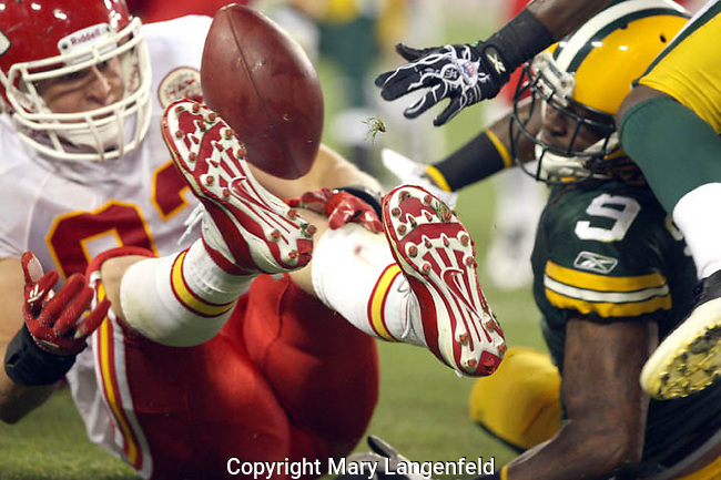 Sep 1, 2011; Green Bay, WI, USA; Green Bay Packer wide receiver Shaky Smithson fumbles ball during a punt return in the fourth quarter during the preseason game at Lambeau Field.   The Green Bay Packers won the game, beating the Kansas City Chiefs 20-19. Mandatory Credit: Mary Langenfeld-US PRESSWIRE