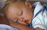 Face of one year old boy asleep, close up