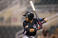 Anderson Tejeda (1) of the Hickory Crawdads at bat against the Kannapolis Intimidators in game two of a double-header at Kannapolis Intimidators Stadium on May 19, 2017 in Kannapolis, North Carolina.  The Intimidators defeated the Crawdads 9-1.  (Brian Westerholt/Four Seam Images)