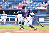 Rome Braves second baseman Kevin Josephina (24) swings at a pitch during a game against the Asheville Tourists at McCormick Field on May 22, 2017 in Asheville, North Carolina. The Braves defeated the Tourists 7-3. (Tony Farlow/Four Seam Images)