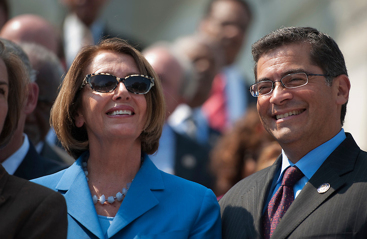 UNITED STATES - SEPTEMBER 14:  House Minority Leader Nancy Pelosi, D-Calif., and House Democratic Conference Vice Chair Xavier Becerra, D-Calif., attend a rally on the House Steps with House Democrats to call on Republicans to take action on the American Jobs Act.  (Photo By Tom Williams/Roll Call)