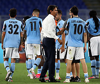 Football, Serie A: S.S. Lazio - Cagliari, Olympic stadium, Rome, July 23, 2020. <br /> Lazio's coach Simone Inzaghi (c) celebrates with his players after winning 2-1 the Italian Serie A football match between Lazio and Cagliari at Rome's Olympic stadium, Rome, on July 23, 2020. <br /> UPDATE IMAGES PRESS/Isabella Bonotto