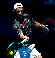 5th January 2020; RAC Arena, Perth, Western Australia; ATP Cup Australia, Perth, Day 3; Italy versus Norway; Stefano Travaglia of Italy plays a forehand shot against Viktor Durasovic of Norway - Editorial Use