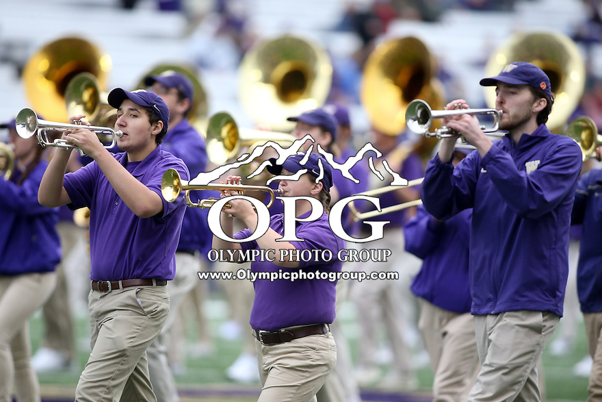 03 September 2016:  University of Washington Alumni band members entertained fans before the game against Rutgers.  Washington defeated Rutgers 48-13 at the University of Washington in Seattle, WA.