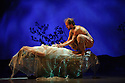 London, UK. 25.03.2016. balletLORENT presents SNOW WHITE, as part of the Family Weekend, at Sadler's Wells. Artistic Director, Liv Lorent (MBE), directs and choreographs. Set design is by Phil Eddols, with lighting design by Malcolm Rippeth, and costume design by Libby Everall. balletLORENT's 11 professional dancers are joined by a cast of 12 local children from Vittoria Primary School in the Islington Borough, aged 6 - 9 years old. Picture shows: Natalie Trewinnard (Snow White), Gavin Coward (Huntsman). Photograph © Jane Hobson.
