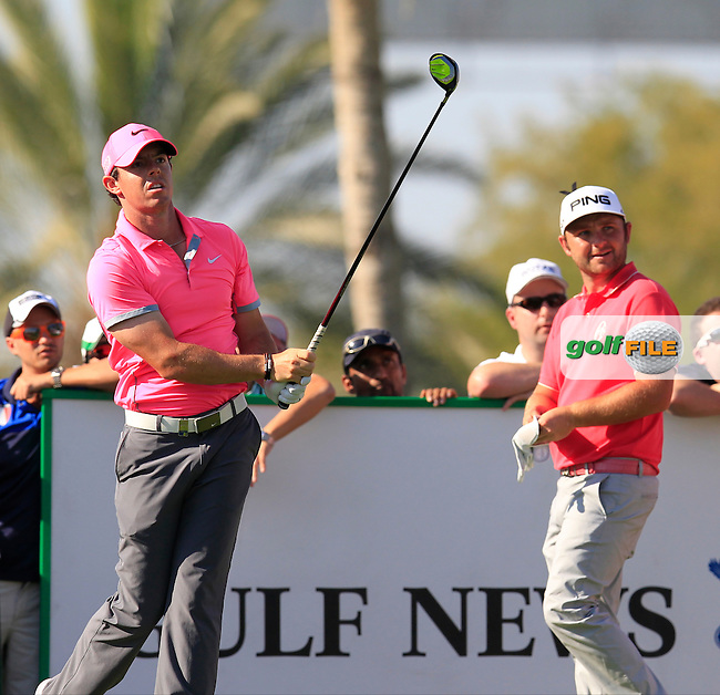 Rory MCILROY (NIR) tees off the 13th tee during Pink Friday's Round 2 of the 2015 Omega Dubai Desert Classic held at the Emirates Golf Club, Dubai, UAE.: Picture Eoin Clarke, www.golffile.ie: 1/30/2015