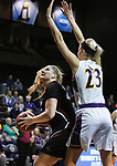 SIOUX FALLS, SD: MARCH 21:  Maura D'Anna #25 of Indiana (PA) tries to shoot past Ashland defender Sara Loomis #23 during their game at the 2018 Division II Women's Basketball Championship at the Sanford Pentagon in Sioux Falls, S.D. (Photo by Dick Carlson/Inertia)