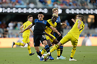 SAN JOSE, CA - AUGUST 03: Cristian Espinoza, Pedro Santos  during a Major League Soccer (MLS) match between the San Jose Earthquakes and the Columbus Crew on August 03, 2019 at Avaya Stadium in San Jose, California.