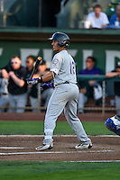 Colton Welker (12) of the Grand Junction Rockies at bat against the Ogden Raptors in Pioneer League action at Lindquist Field on August 24, 2016 in Ogden, Utah. The Raptors defeated the Rockies 11-10. (Stephen Smith/Four Seam Images)