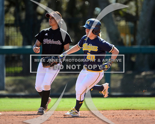 Michigan Wolverines Softball outfielder Mary Sbonek (20) runs the bases during a game against the Bethune-Cookman on February 9, 2014 at the USF Softball Stadium in Tampa, Florida.  Michigan defeated Bethune-Cookman 12-1.  (Copyright Mike Janes Photography)