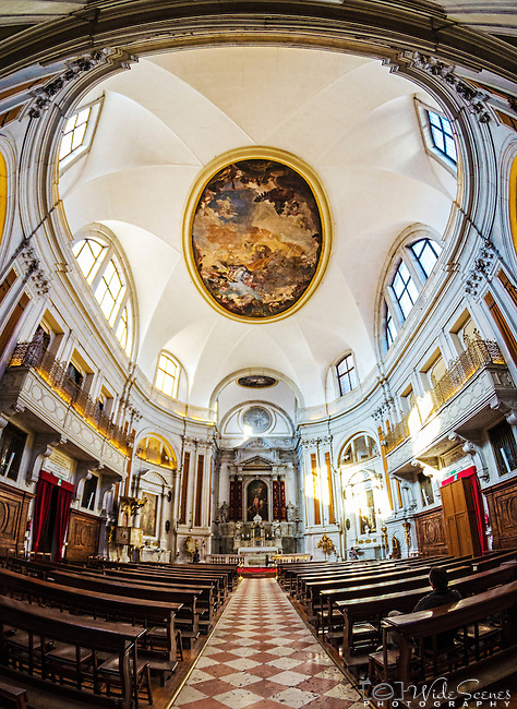 Fisheye view of the interior of Santa Maria della Pietà in Castello, Venice, Italy