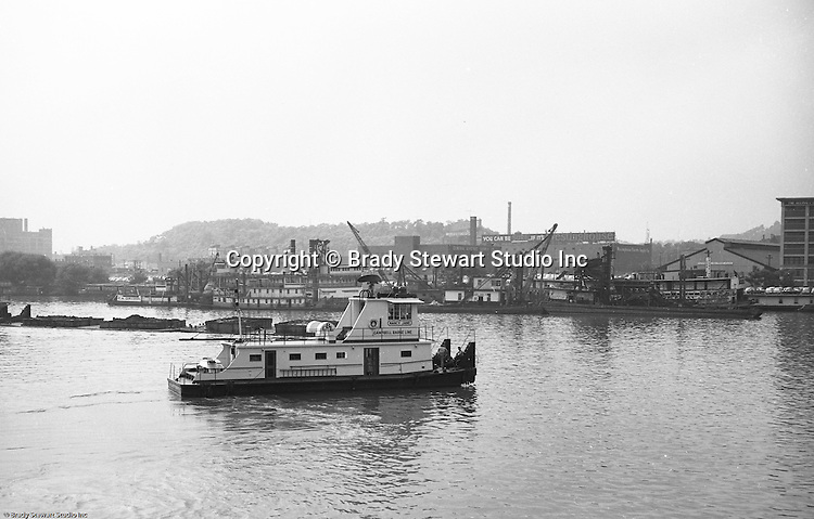 Pittsburgh PA:  Public Relations assignment for WW Patterson Company; a manufacturer of Towboat and Barge Winches - 1955. View of the new Campbell Barge Lines, Lady Jane. Manufactured locally by Dravo for use in a contract for the Army Corp of Engineers.  The new towboat had all the new bells and whistles including state-of-the-art radar.