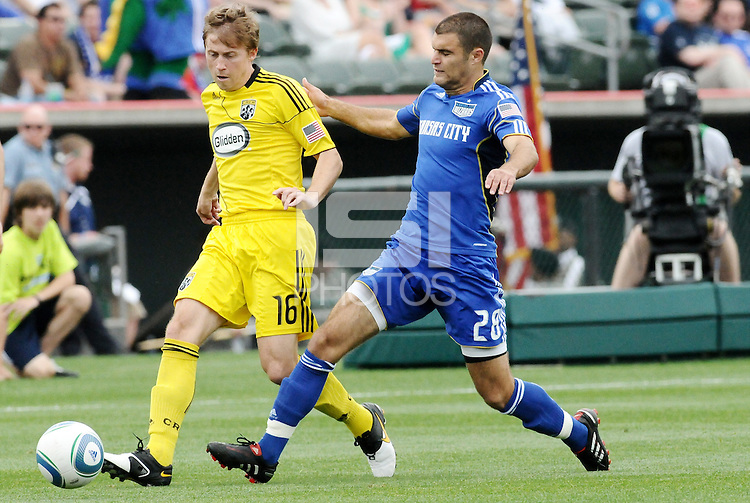 Brian Carroll #16, Graham Zusi...Kansas City Wizards were defeated 1-0 by Columbus Crew at Community America Ballpark, Kansas City, Kansas.