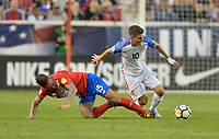 Harrison, N.J. - Friday September 01, 2017:  Francisco Calvo, Christian Pulisicduring a 2017 FIFA World Cup Qualifying (WCQ) round match between the men's national teams of the United States (USA) and Costa Rica (CRC) at Red Bull Arena.