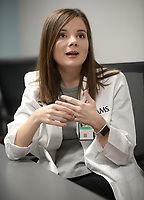 NWA Democrat-Gazette/ANDY SHUPE<br /> Dr. Mikaila Calcagni, a resident physician, speaks Friday, March 22, 2019, at the Veterans Health Care of the Ozarks facility in Fayetteville. University of Arkansas for Medical Sciences, the VHCO and Mercy Hospital are partnering to add more resident slots.