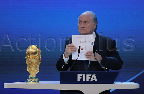 02.12.2010, Zurich Switzerland. Awards for the FIFA World Championships 2018 and 2022. FIFA President Joseph Sepp Blatter SUI announced Qatar as Organisers for the World Cup 2022