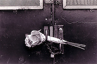 New York, NY - 1988 - Flowers placed in the door handles of the former Performing Arts High School after a fire caused the interior to collapse.