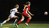 Nicole Gordon #25 of St. Anthony's, left, chases after a ball during the Nassau-Suffolk CHSAA varsity girls soccer final against Sacred Heart Academy at Adelphi University on Wednesday, Nov. 1, 2017. She scored the first goal of the match midway through the second half to lead St. Anthony's to a 2-0 win.