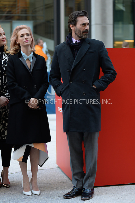 WWW.ACEPIXS.COM<br /> March 23, 2015 New York City<br /> <br /> January Jones and Jon Hamm attending the 'Mad Men' art installation Unveiling at Time &amp; Life Building on March 23, 2015 in New York City. <br /> <br /> Please byline: Kristin Callahan/AcePictures<br /> <br /> ACEPIXS.COM<br /> <br /> Tel: (646) 769 0430<br /> e-mail: info@acepixs.com<br /> web: http://www.acepixs.com