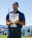 Tony Romo is all smiles after winning the American Century Championship for the second straight year at Edgewood Tahoe Golf Course in Stateline, Nev. on Sunday, July 14, 2019.