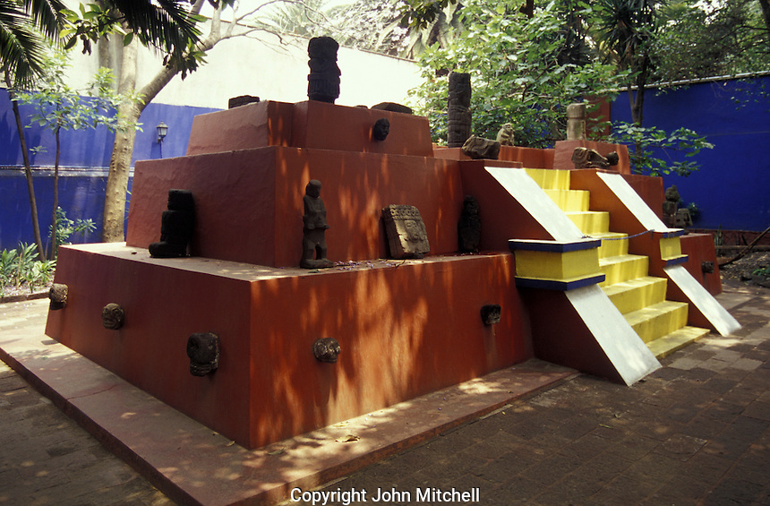 Replica of a pre-Columbian pyramid at the Museo Frida Kahlo, also known as the Blue House or Casa Azul, in Coyoacan, Mexico City. Mexican artist Frida Kahlo was born this house and lived in it with her husband Diego riva from 1929 until 1954.