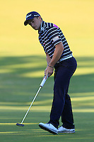 Paul Dunne (IRL) on the 11th green during Round 1 of the 2015 Alfred Dunhill Links Championship at Kingsbarns in Scotland on 1/10/15.<br /> Picture: Thos Caffrey | Golffile