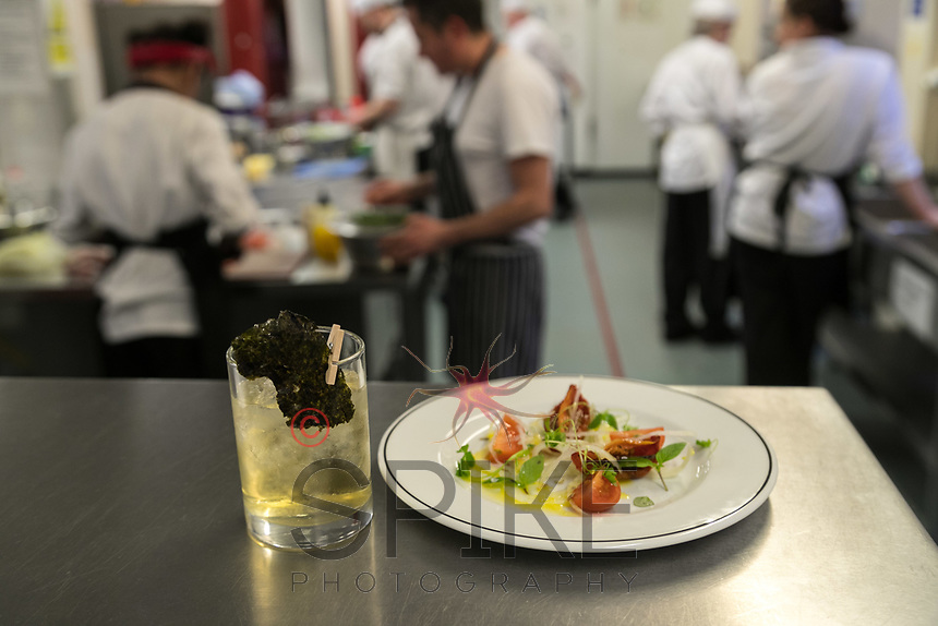 Mark Anderson of The Ruddington Arms with student Jamie Edwards-Elvidge, pictured with a Seaweed Sour cocktail with a Smoked tomato, Shaved fennel and Kohl Rabi plate