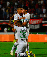 CÚCUTA - COLOMBIA, 23-03-2019: Los jugadores de Atlético Nacional, celebran el gol anotado al Atlético Nacional, durante partido entre Cúcuta Deportivo y Atlético Nacional, de la fecha 11 por la Liga Águila I-2019, jugado en el estadio General Santander de la ciudad de Cúcuta. / The players of Atletico Nacional, celebrate a scored goal to Atletico Nacional, during a match between Cucuta Deportivo and Atletico Nacional, of the 11th date for the Liga Aguila I 2019 at the General Santander Stadium in Cucuta city Photo: VizzorImage / Edgar Cusguen / Cont.