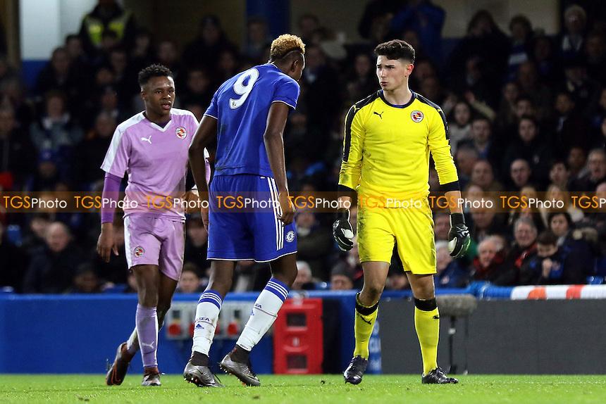 Chelsea striker, Tammy Abraham and Reading goalkeeper, Luke Southwood, exchange words during Chelsea Youth vs Reading Youth, FA Youth Cup Football at Stamford Bridge