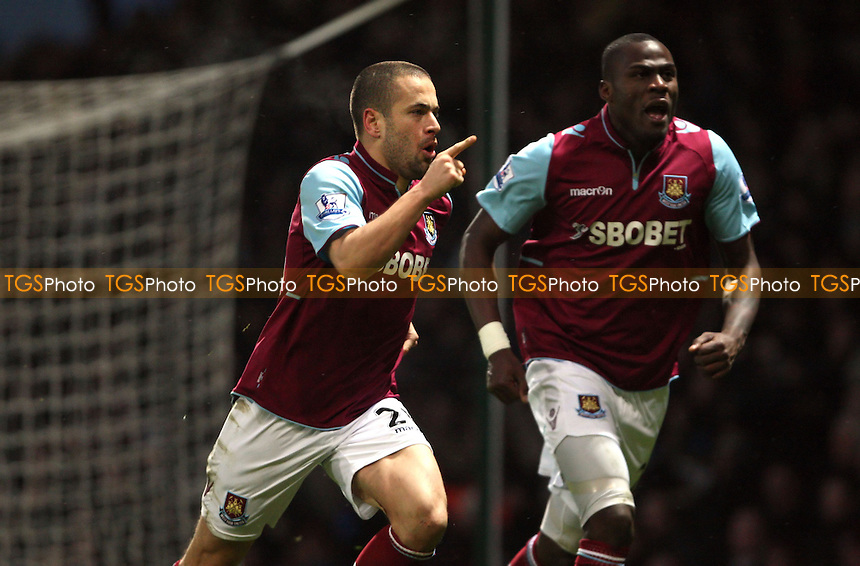 Joe Cole celebrates after scoring the 1st goal for West Ham - West Ham United vs Queens Park Rangers, Barclays Premier League at Upton Park, West Ham - 19/01/13 - MANDATORY CREDIT: Rob Newell/TGSPHOTO - Self billing applies where appropriate - 0845 094 6026 - contact@tgsphoto.co.uk - NO UNPAID USE.
