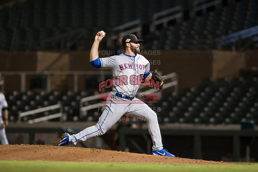 Scottsdale Scorpions relief pitcher Joe Zanghi (54), of the New York Mets organization, delivers a pitch during an Arizona Fall League game against the Salt River Rafters at Salt River Fields at Talking Stick on October 11, 2018 in Scottsdale, Arizona. Salt River defeated Scottsdale 7-6. (Zachary Lucy/Four Seam Images)
